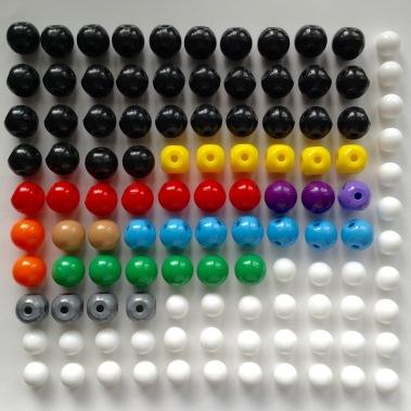 Атоми - кульки з отворами - 111 шт.