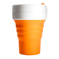 Silicone-Retractable-Folding-Coffee-Cup-Telescopic-Collapsible-Pocket-Orange